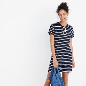 Madewell Navy striped short sleeve tee shirt dress